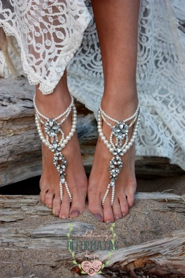 Beach Wedding Barefoot Sandals Pearl Barefoot Sandals