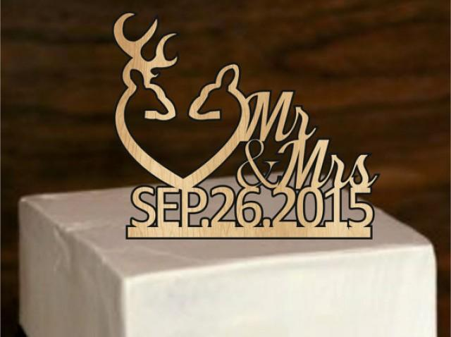 Fall Sale Rustic Deer Wedding Cake Topper Country