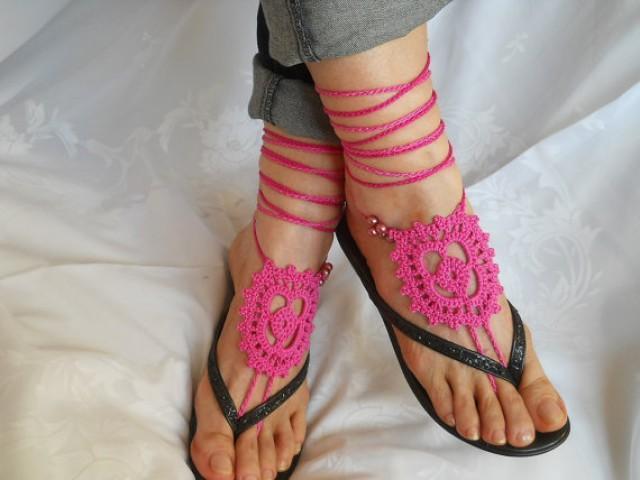 CROCHET BAREFOOT SANDALS / Barefoot Sandles Shoes Beads ...