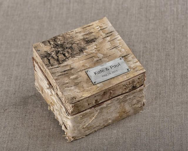 Birch bark wood wedding ring bearer box rustic wooden for Wooden ring box