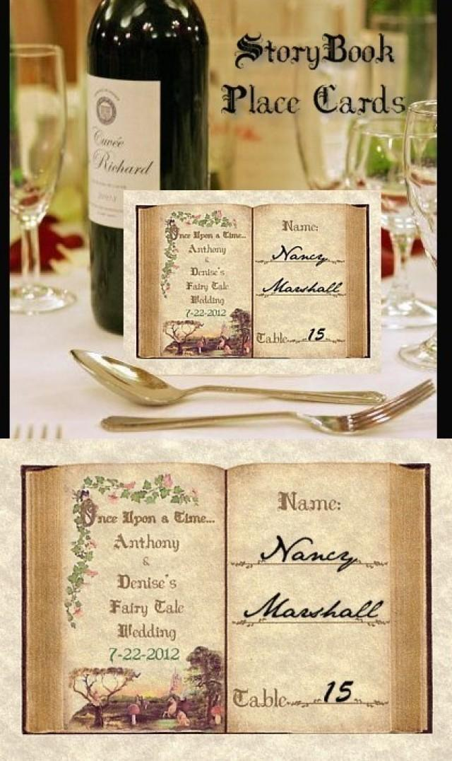 Qty 75 storybook fairy tale butterfly cinderella wedding for Personalized wedding place cards
