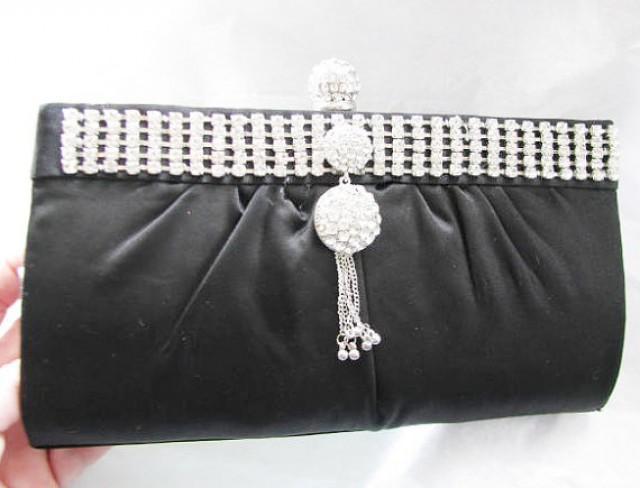 SALE Black Fabric Bridal Wedding Bag Clutch Formal Wear Austrian Crystal Accents #2317446 - Weddbook