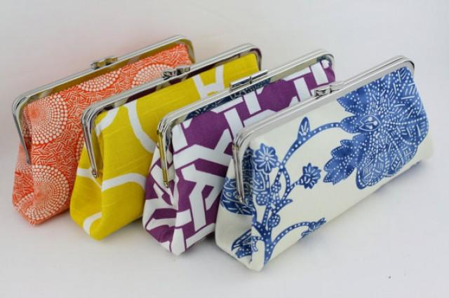 wedding photo - Design your own clutches / Bridesmaids Clutch Set / Wedding Gift - over 400 fabulous fabrics to choose from - Set of 4
