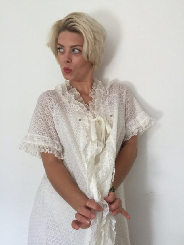Vintage Babydoll Robe Lacy Lingerie Frilly Dressing