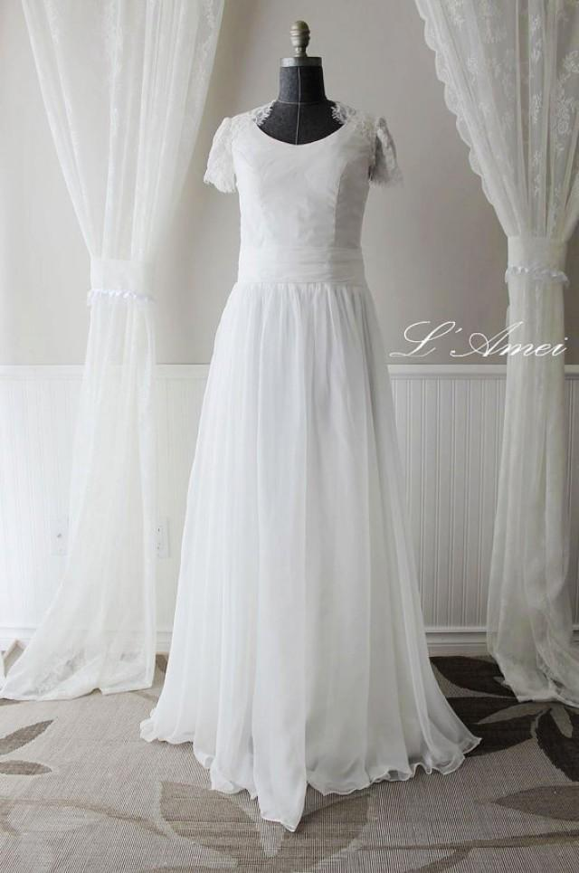 Custom Beach Style Ivory Or Pure White Floor Length Cotton Wedding Dress With