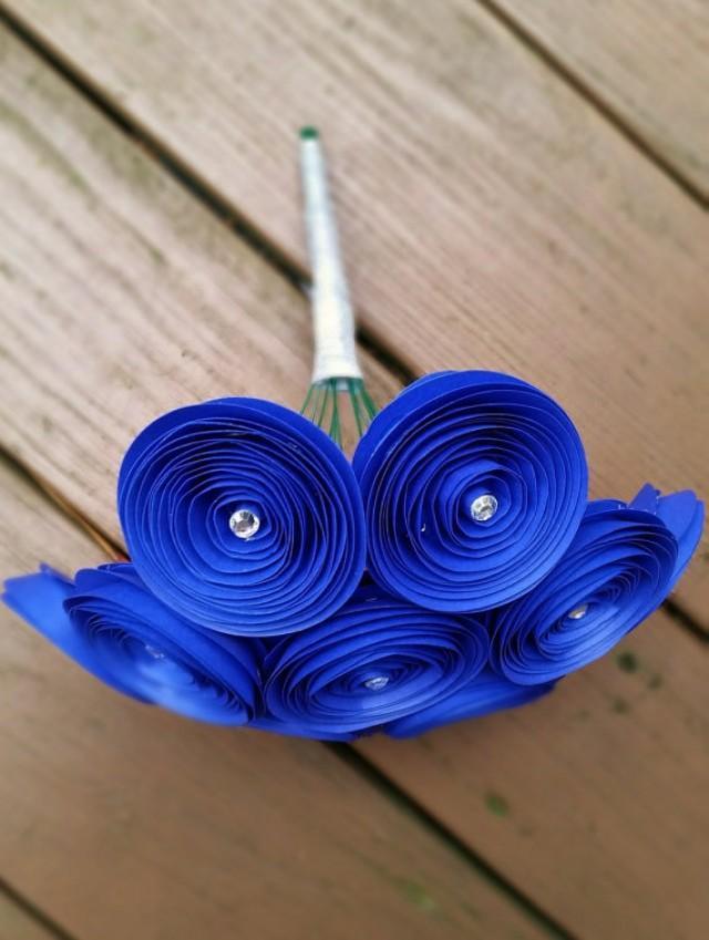Paper Flower Bouquet 12 Royal Blue Yellow Paper Flowers
