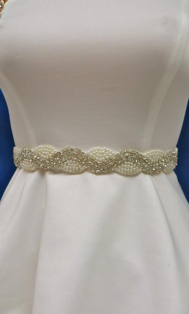 Rhinestone pearl sash wedding gown accessory bridal for Wedding dress belt sash