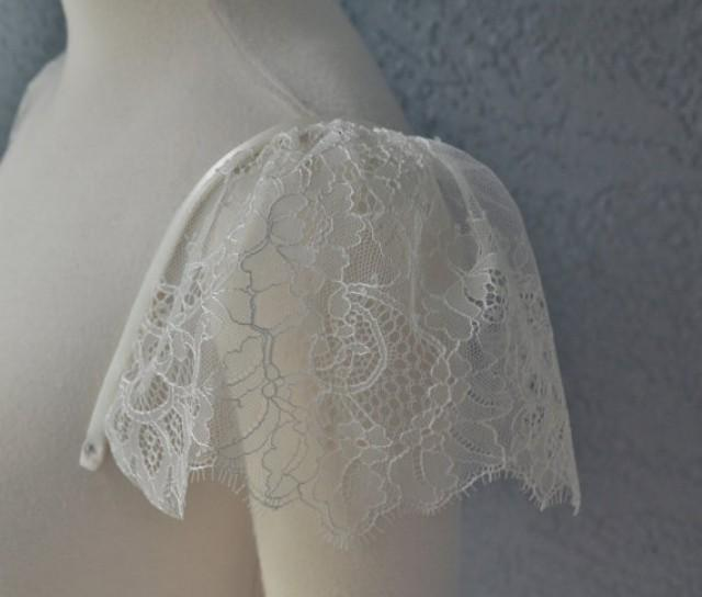 Detachable ivory chantilly lace straps cap sleeves to add for Adding straps to wedding dress