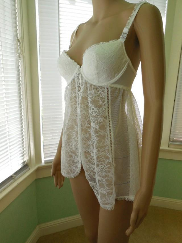 a00fac214 Vintage VICTORIA S SECRET Babydoll Lingerie Sheer Babydoll Nightie White Lace  Teddy Underwire Bra Sexy Loungewear Retro 90s Ladies Size 34 C