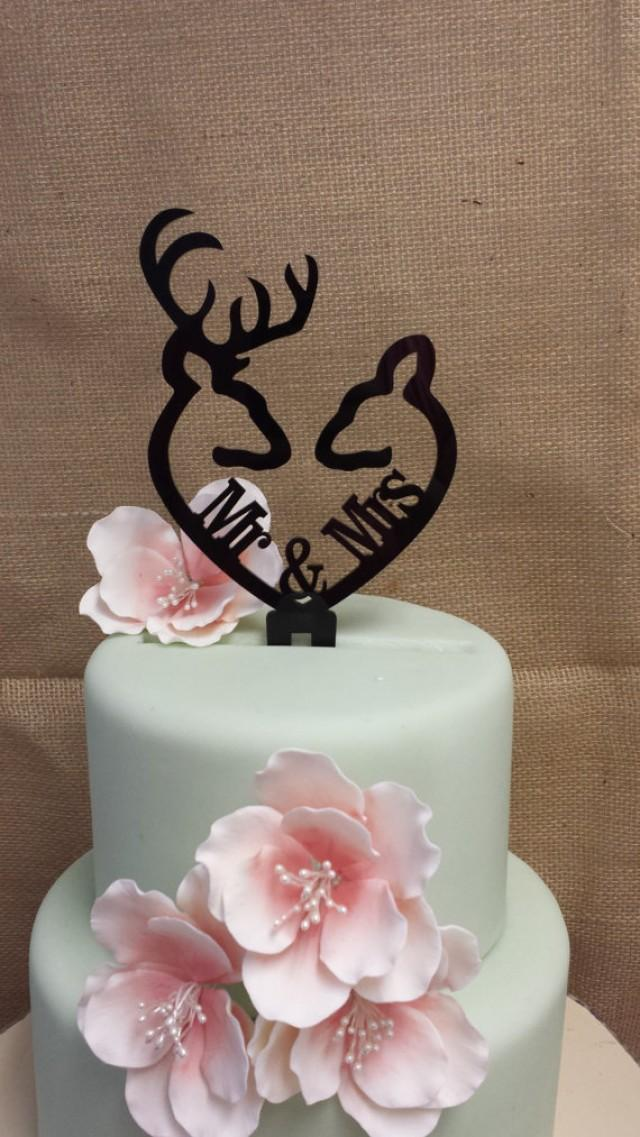 wedding photo - Buck and Doe Heart Collection- Mr & Mrs Buck and Deer Heart Acrylic Cake Topper