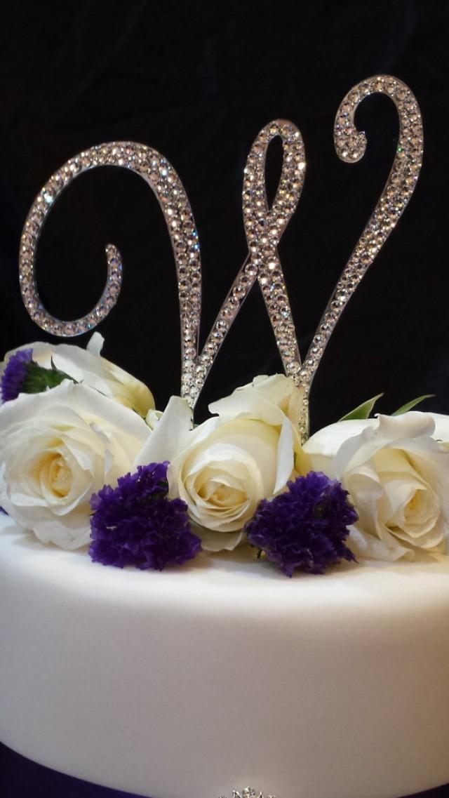 "wedding photo - 5"" Tall Initial Monogram Wedding Cake Topper Swarovski Crystal Rhinestone Letter A B C D E F G H I J K L M N O P Q R S T U V W X Y Z"