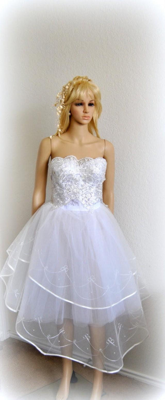 You Rock Wedding Dress Tea Length Bustier Gown Bridal