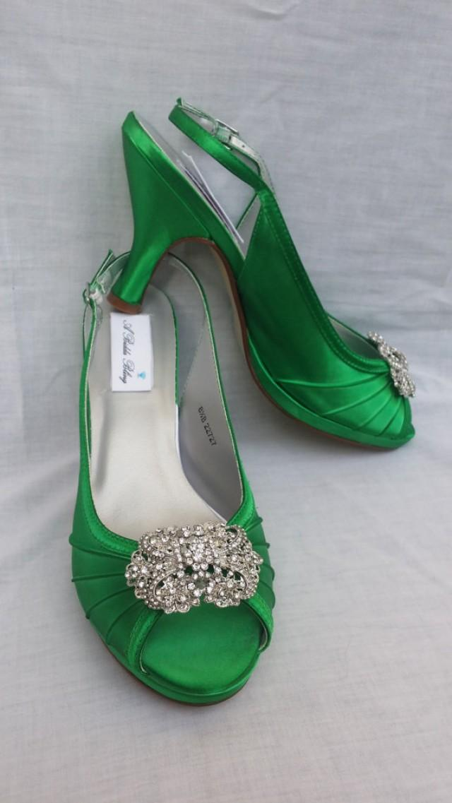Wedding Shoes Kelly Green Bridal Shoes Sling Back Shoes Vintage Inspired Brooch Over 100 Custom