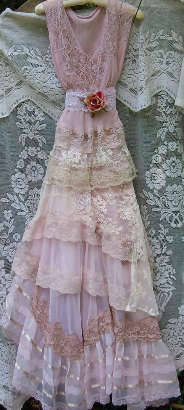 Blush wedding dress lace tulle embroidery boho vintage for Romantic vintage lace wedding dresses