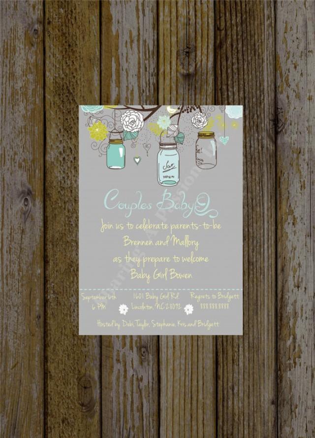 mason jar baby shower invite - couples baby shower bbq - babyq, Baby shower invitations