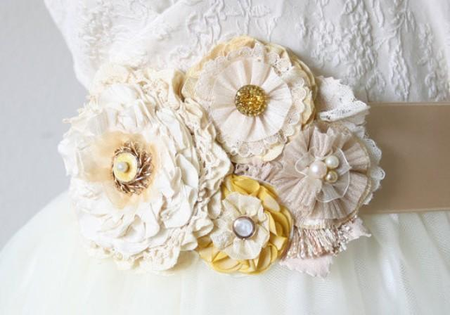 wedding photo - Floral Wedding Sash - Sunshine Yellow and Ivory White