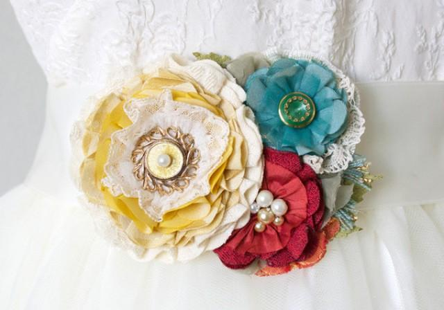 wedding photo - Colorful Floral Sash Pin in Yellow, Teal Blue and Red