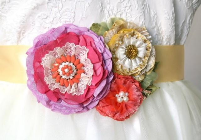 wedding photo - Bright and Colorful Fabric Flower Wedding Sash - Pink, Coral, Yellow, Ivory White