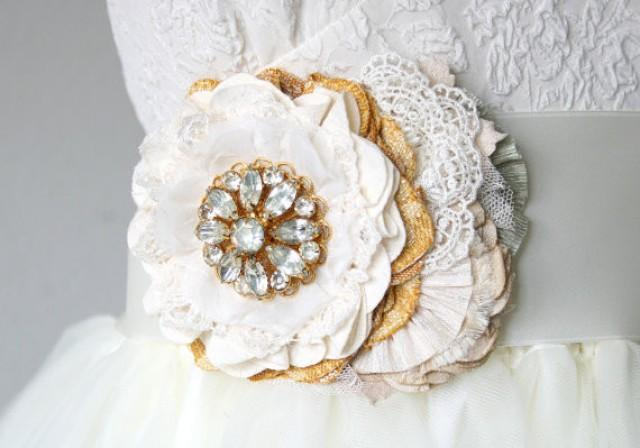wedding photo - Wedding Sash Flower with Vintage Rhinestone Crystal Brooch - Ivory and Yellow