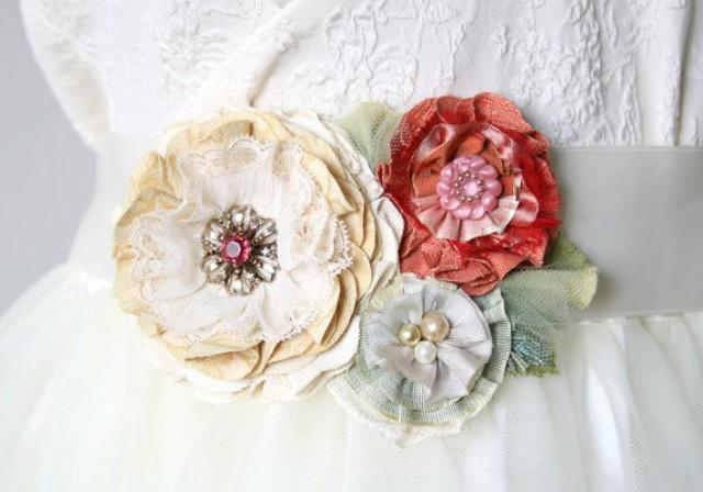 wedding photo - Garden Party Flower Belt - Coral, Pink, Mint and Ivory Blooms