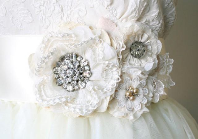 wedding photo - Vintage Rhinestone Wedding Sash - Ivory White Floral Bridal Belt
