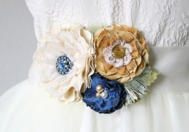wedding photo - Floral Wedding Dress Belt - Ivory, Blue and Golden Yellow Fabric Flowers