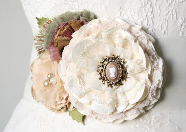wedding photo - Romantic Wedding Dress Sash with Vintage Cameo Brooch