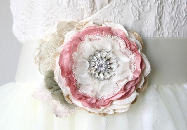 wedding photo - Floral Wedding Gown Sash with Vintage Rhinestone Brooch - Pink, Ivory