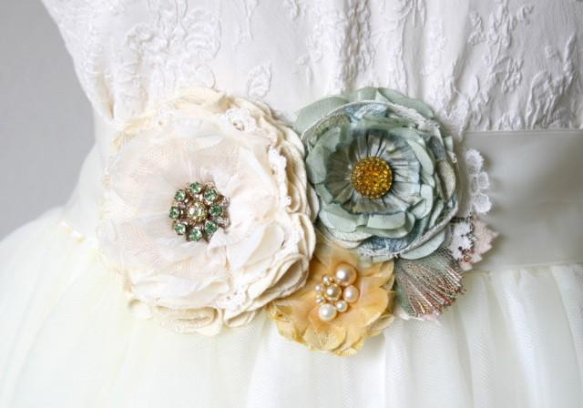 wedding photo - Floral Bridal Sash - Ivory, Teal and Yellow Fabric Flowers
