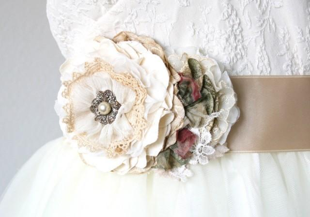 wedding photo - Vintage Style Wedding Dress Sash - Ivory, Cream and Burgundy Flowers