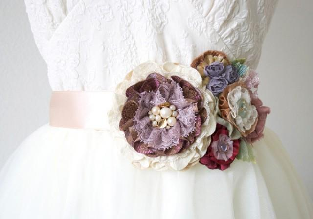 wedding photo - Floral Bridal Belt - Purple and Rose Gold Fabric Flowers