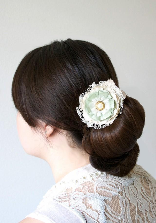 wedding photo - Floral Hairpiece with Pearl Rhinestone Button and Vintage Lace - Mint, Sea Foam Green and Ivory