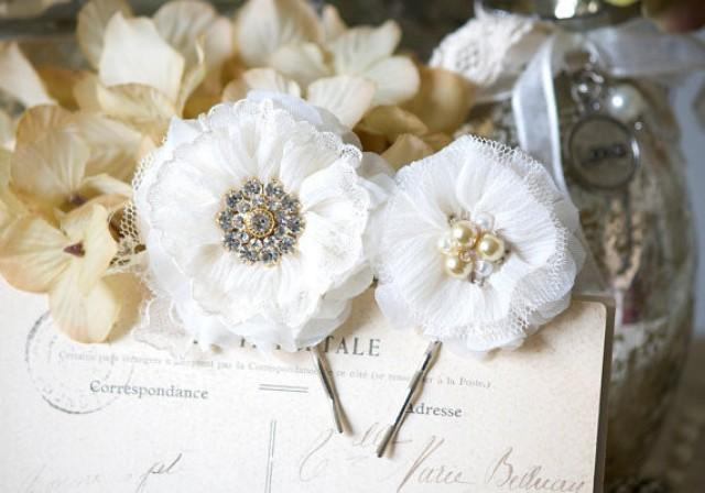 wedding photo - Bridal Hair Pins - Ivory Fabric Flowers with Pearl and Rhinestone Centers