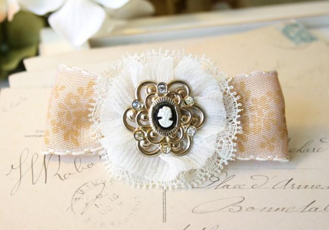 wedding photo - Vintage Cameo Bridal Barrette - Floral Hair Bow Accessory