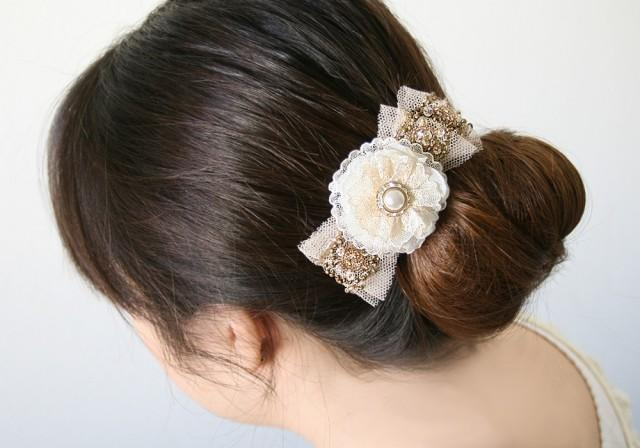 wedding photo - Sparkling Hair Flower Clip - Pearl and Rhinestone with Gold Sequin Vintage Tulle Trim