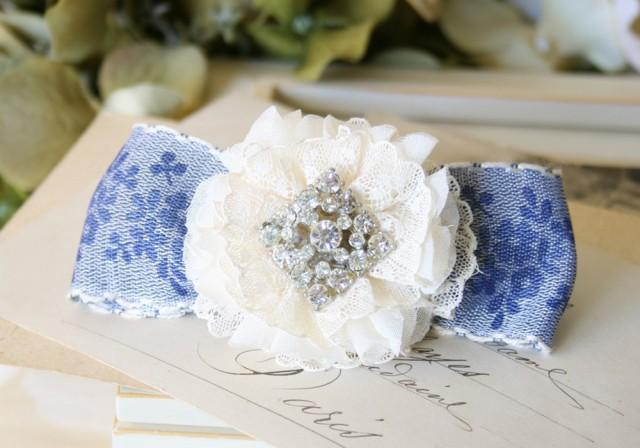 wedding photo - Rhinestone Bridal Hair Barrette - Something Blue Floral Lace Hair Bow