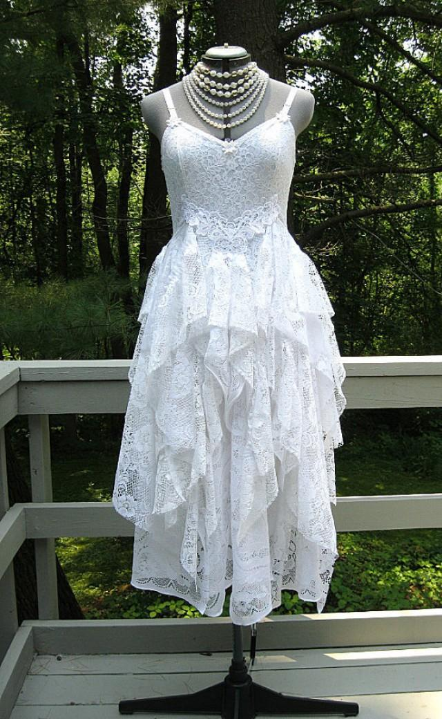 White tattered boho gypsy hippie alternative bride wedding for Hippie vintage wedding dresses