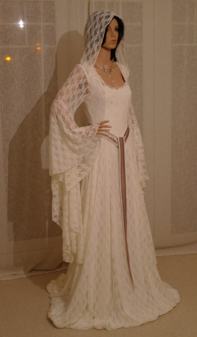 Elven ivory lace dress comicon elven dress medieval for Elven inspired wedding dresses