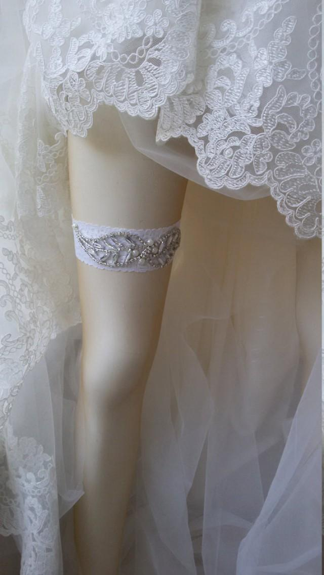 Wedding Garter Of White Lace Garter Bridal Leg GarterRustic Wedding Garter Bridal Accessory