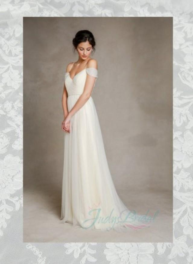 Soft Light Flowy Tulle Off Shoulder Wedding Dress 2322248