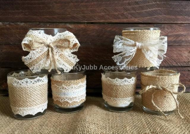 wedding photo - 6 rustic naturlap burlap and lace covered votive tea candles, wedding favor or table decoration