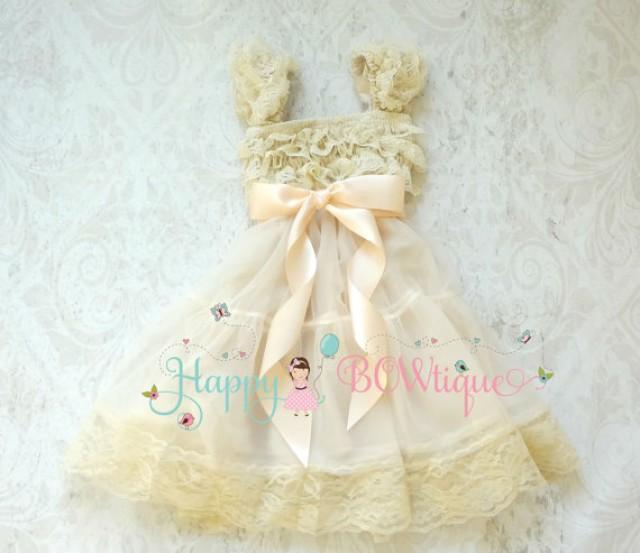wedding photo - Flower girl dress, Blush Champagne  Chiffon Lace Dress,Girls dress,baby dress,Birthday dress, Rustic dress, Burlap, Country dress,Baby Girls