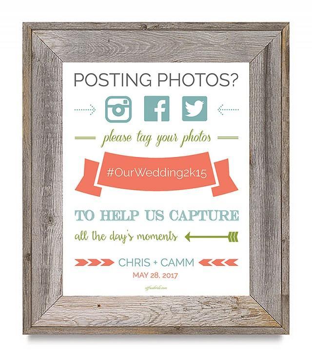 Hashtag Wedding: Super Cute Free Printable Wedding Hashtag Sign