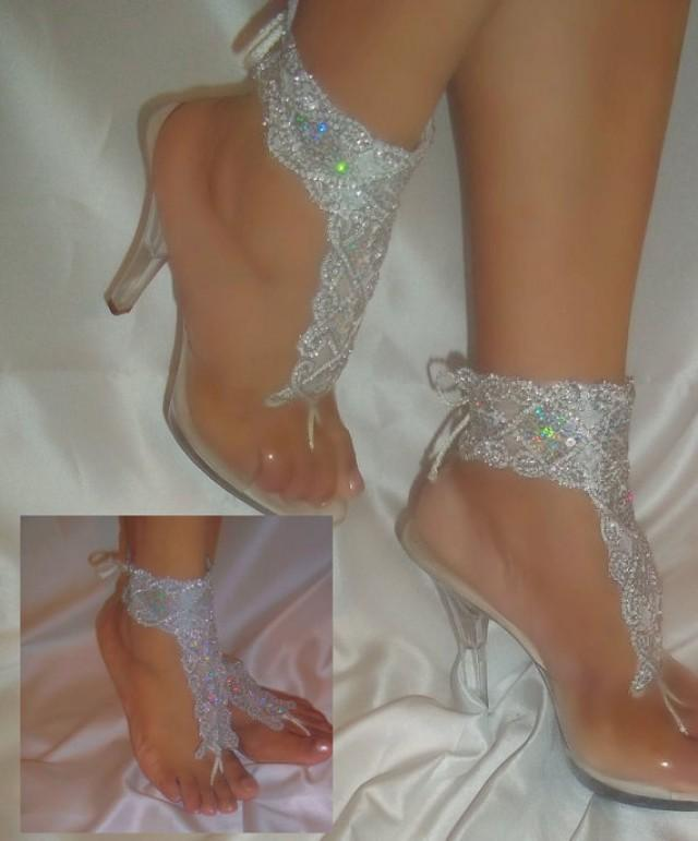 wedding photo - Pair of White Silver Sequin Barefoot Sandals, Ankle Glams, Beach Bride Sandals, Wedding Sandals, Ankle Bracelets, Bridal Barefoot Sandals