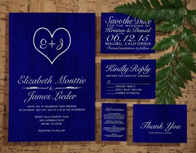 Wedding Invitation Designs Royal Blue: Royal Blue Country Wedding Invitation Set/Suite, Invites