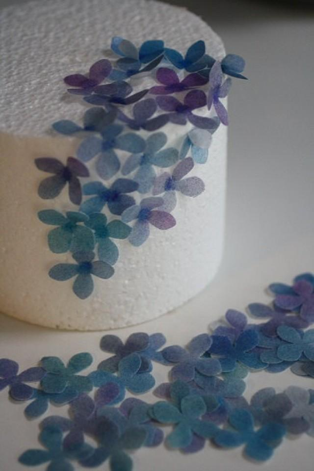 50 Solid Color Wafer Paper Flowers For Cake Decorating ...