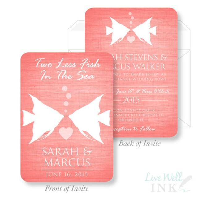 Printed wedding invitation two less fish in the sea for Fishing wedding invitations