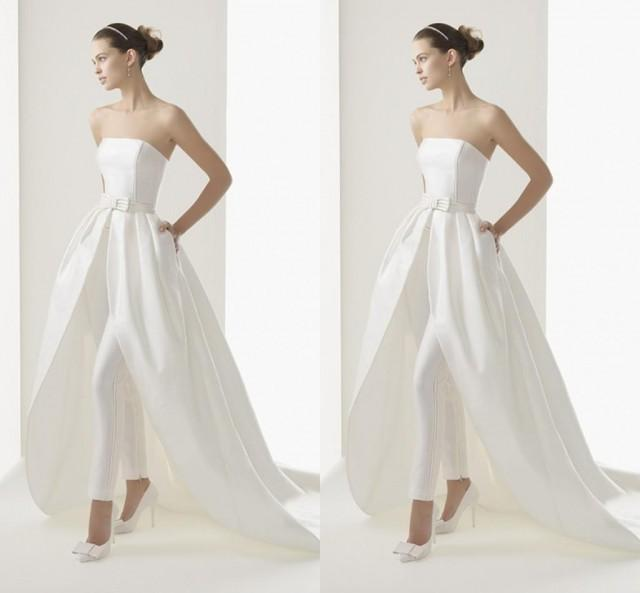2015 newest style high low wedding dresses with trousers for Free wedding dresses low income