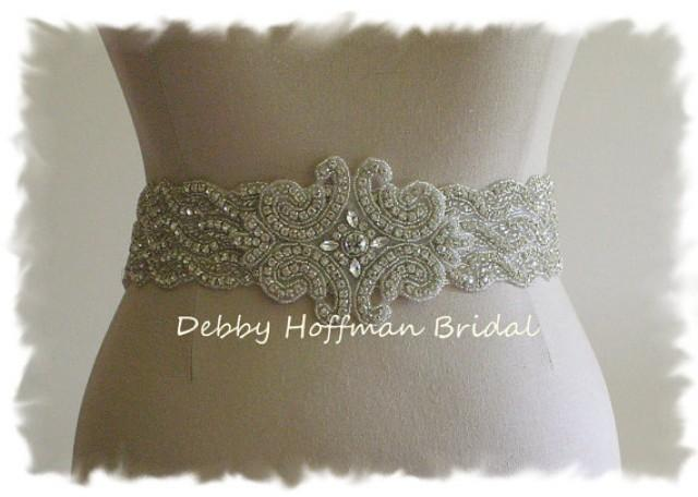 wedding sash beaded rhinestone bridal belt wide