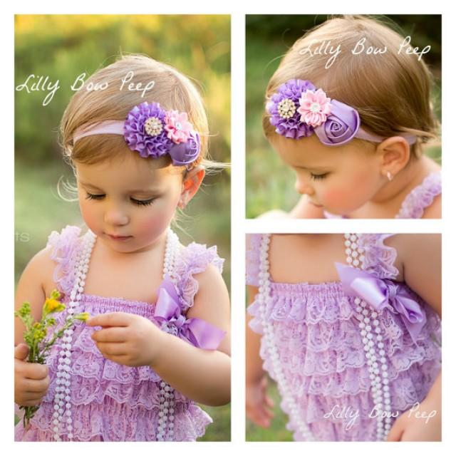 49c3ac05a7d4 Baby Girl Clothes-Lavender Lace Petti Romper And Flower Headband ...